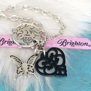 Brighton Open Heart Butterly Coin Silver Necklace